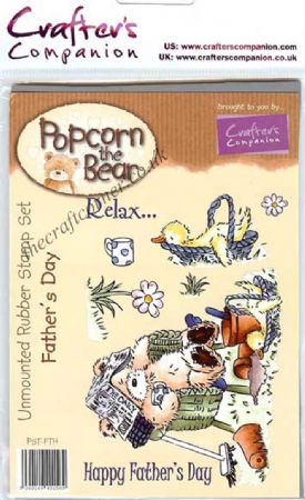 Father's Day Popcorn Bear Unmounted Rubber Stamps